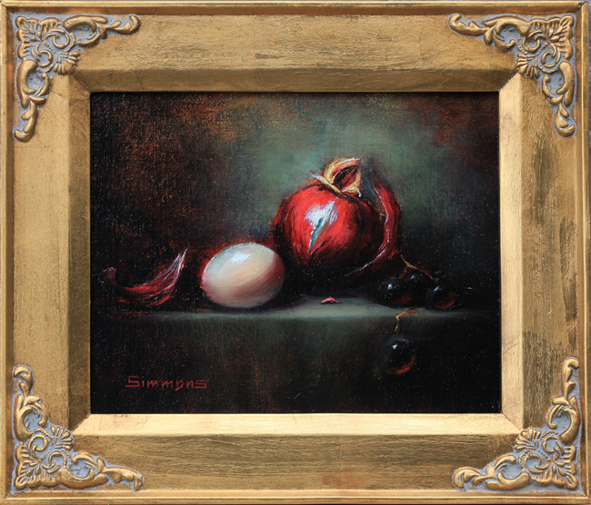 Red Onion and the Egg - oil painting