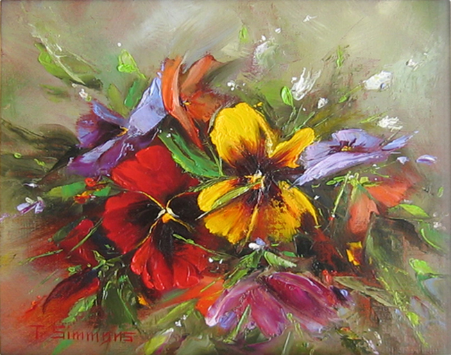 Pansies in the Rough - oil on linen